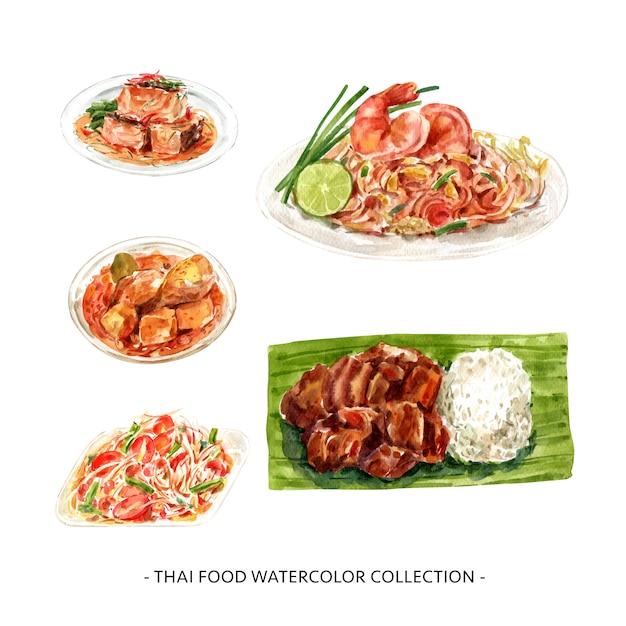 Illustrazione tailandese dell'alimento dell'acquerello isolata progettazione creativa. Vettore gratuito