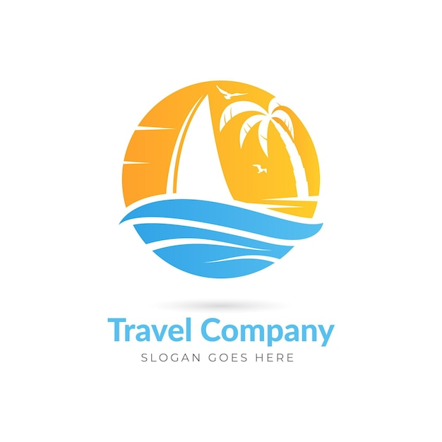 クリエイティブな詳細な旅行のロゴのテンプレート 無料ベクター