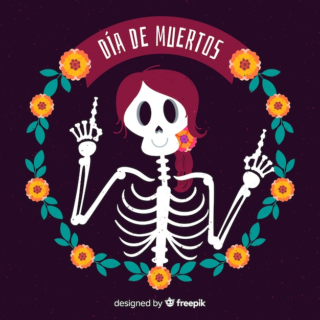 Creative dia de muertos background concept Free Vector