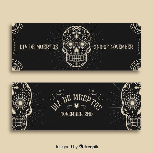Creative día de muertos banners Free Vector