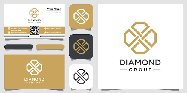 Creative diamond concept logo design template and business card design. Premium Vector