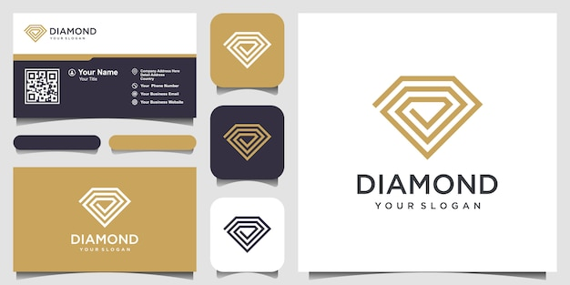 Creative diamond concept logo design template and business card design. Premium Vector