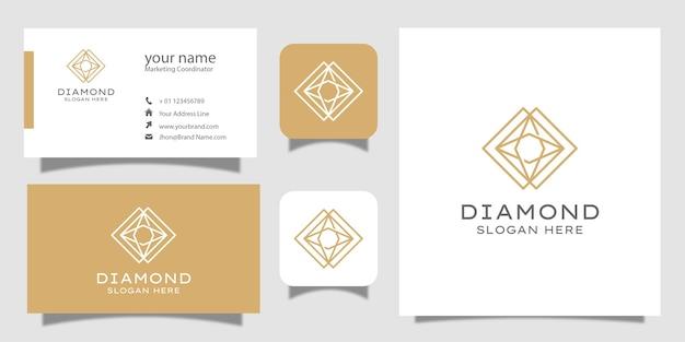 Creative diamond concept template and business card Premium Vector