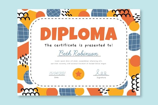 子供のための創造的な卒業証書テンプレート 無料ベクター