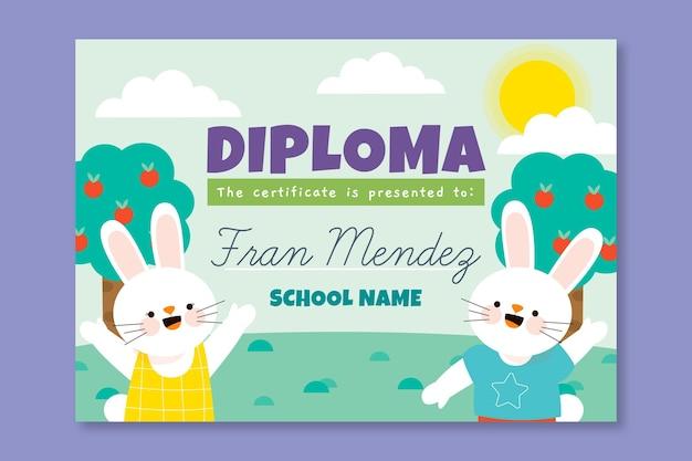 아이들을위한 크리에이티브 디플로마 템플릿 무료 벡터