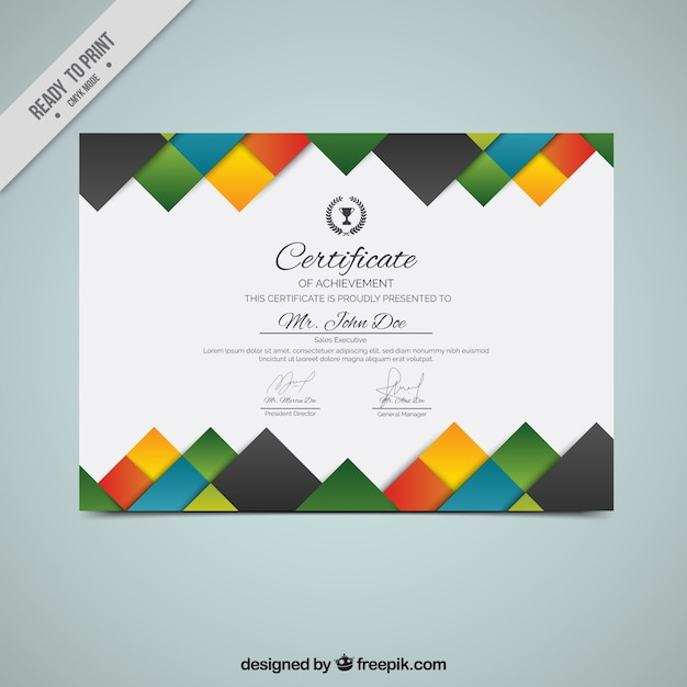 Creative diploma with colored squares Free Vector