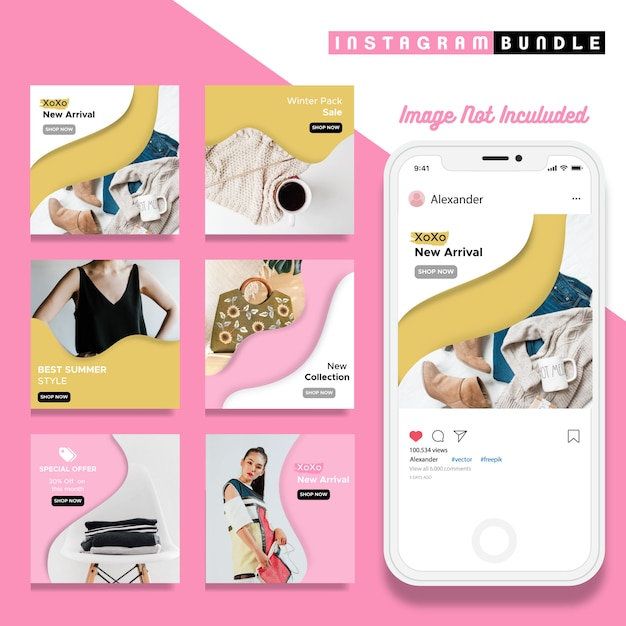 Creative discount instagram post template Premium Vector