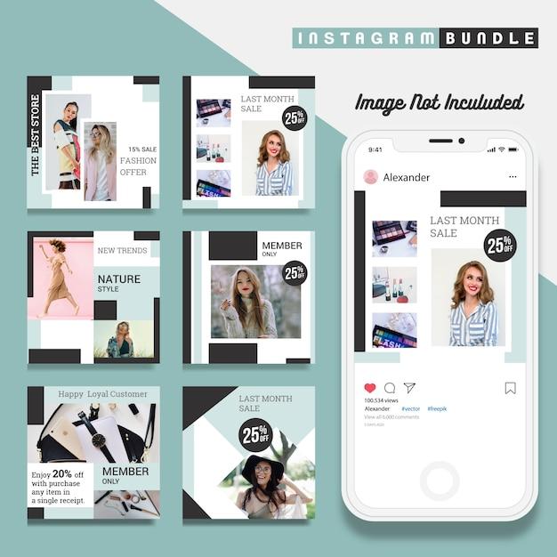 Creative discount instagram post template Premium Vector