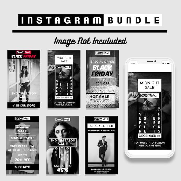 Creative discount instagram story template Premium Vector