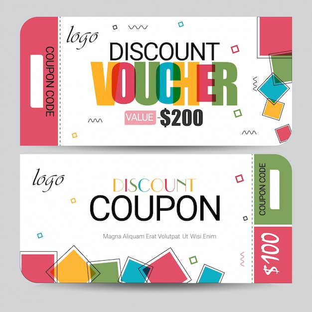 Creative Discount Voucher, Gift Card Or Coupon Template Layout.  Free Coupon Template