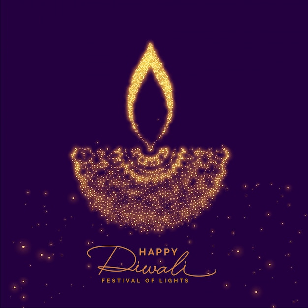 Creative diwali diya made with golden particle Free Vector