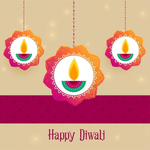 Creative diwali festival greeting background Free Vector
