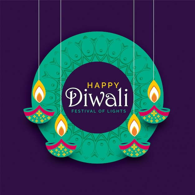 Creative diwali festival poster design background Free Vector