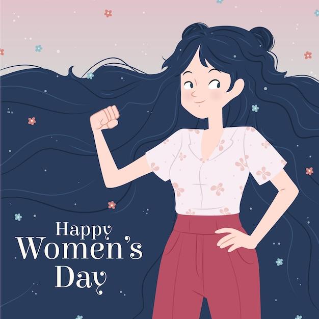 크리에이티브 그린 국제 여성의 날 삽화 무료 벡터