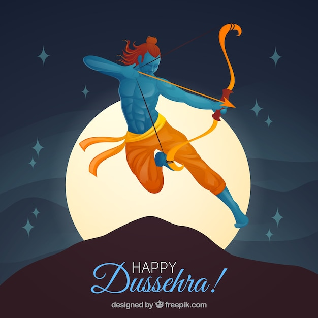 Creative dussehra background with archer Free Vector