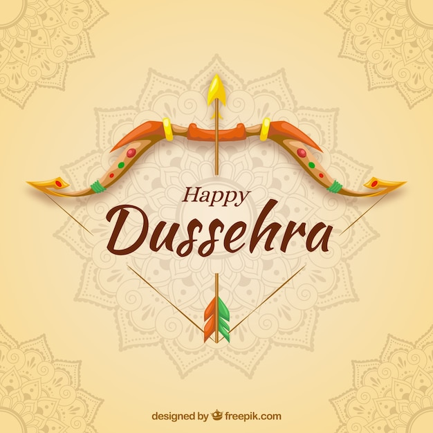 Creative dussehra background with bow Premium Vector