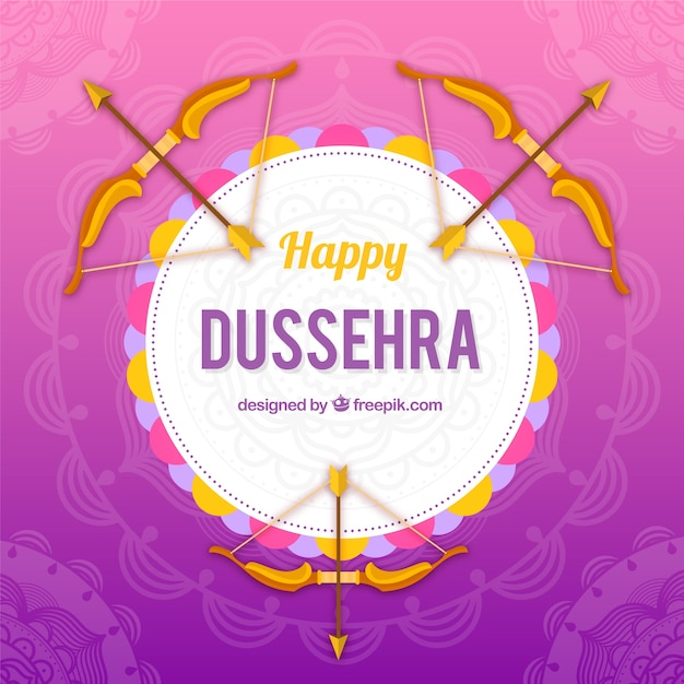 Creative dussehra background with bows Free Vector