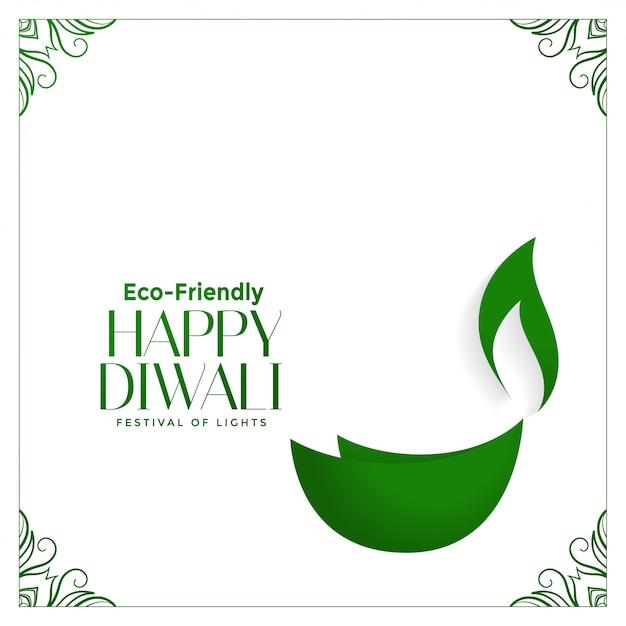 Creative eco friendly green diwali  with diya Free Vector