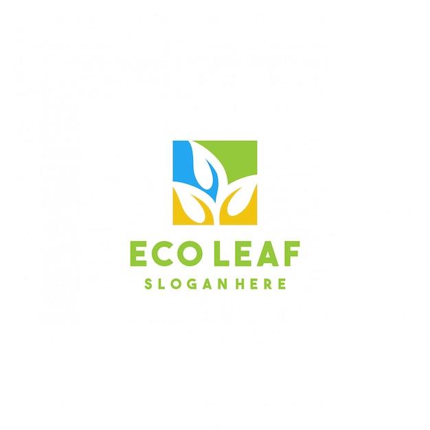 創造的なエコリーフのロゴデザイン Premiumベクター
