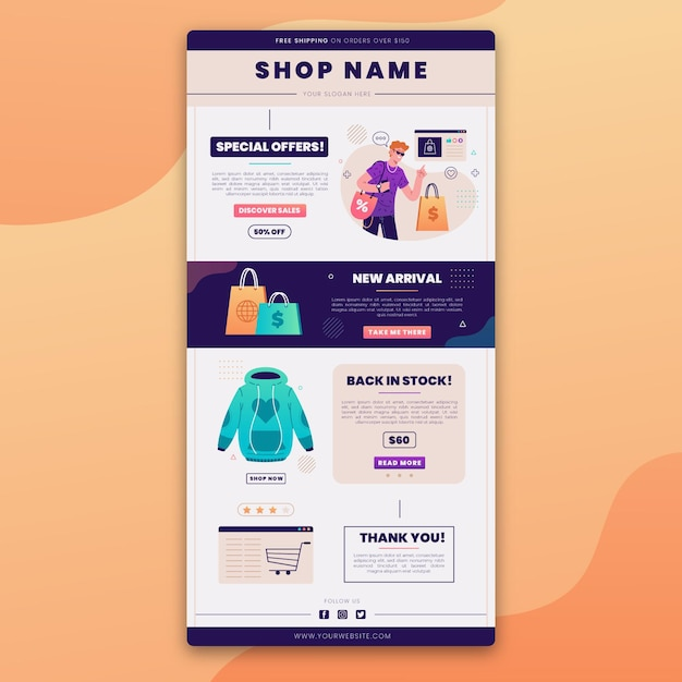 Creative ecommerce email template with illustrations Premium Vector