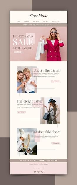 写真付きのクリエイティブなeコマースメールテンプレート Premiumベクター