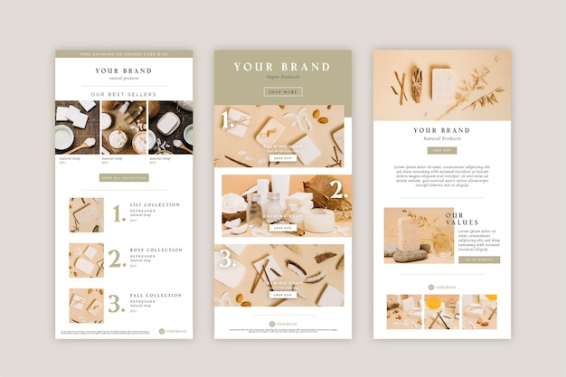 Creative ecommerce email template with photos collection Free Vector