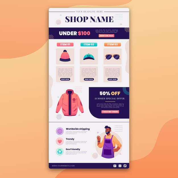 Creative ecommerce email with illustrations Premium Vector