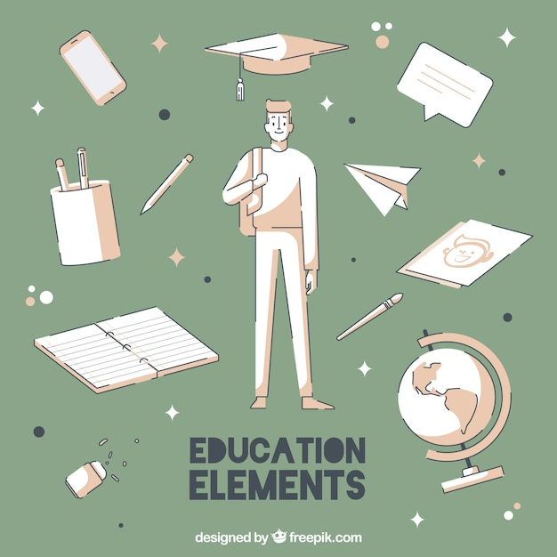 creative education background with elements free vector