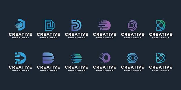 Creative elegant d letter logo icon set for luxury business Premium Vector
