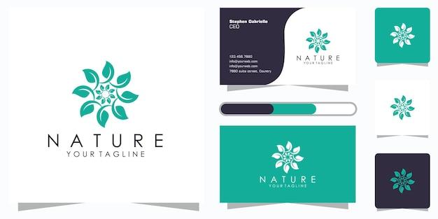 創造的なエレガントな花の葉の要素のロゴと名刺。美容、化粧品、ヨガ、スパのロゴ Premiumベクター
