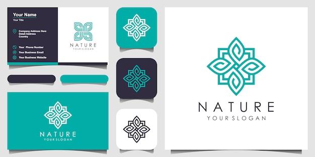 Креативная элегантная цветочная роза с логотипом элемента листа и визитной карточкой. логотип для красоты, косметики, йоги и спа. Premium векторы