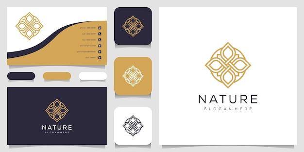 葉の要素のロゴのデザインと名刺とクリエイティブでエレガントなフローラルローズ。 Premiumベクター