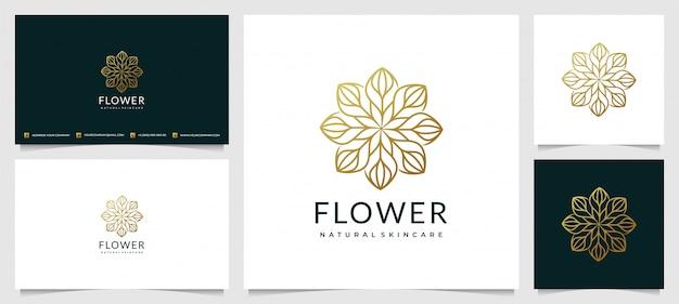 シンプルな名刺で美容のための創造的なエレガントな葉と花のバラのロゴデザイン Premiumベクター