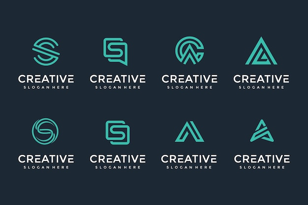 Creative and elegant letter logo icon set for luxury business Premium Vector