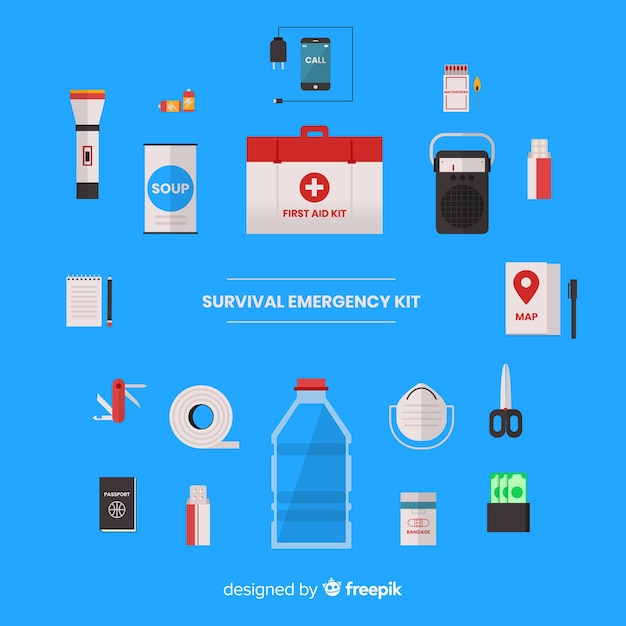 Creative emergency survival kit in flat design Free Vector