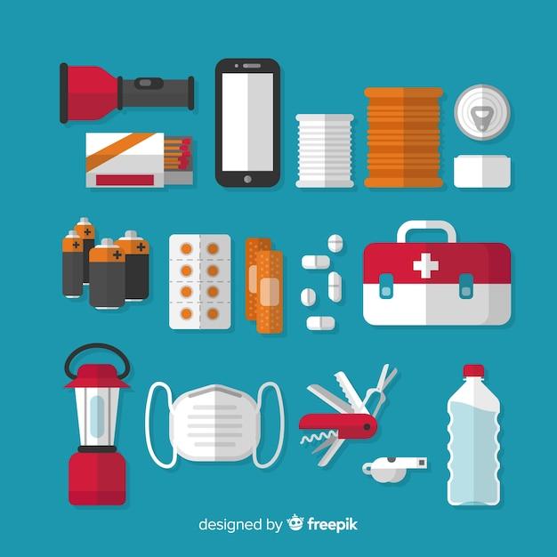 Creative emergency survival kit in flat design Free Vector