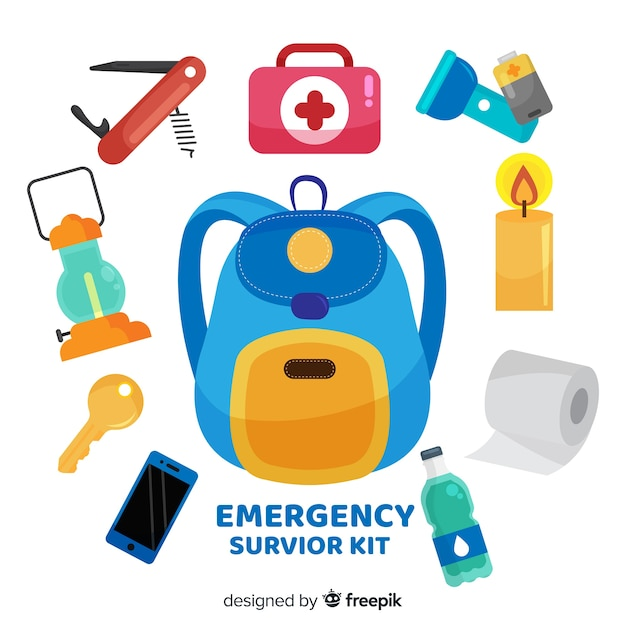 Creative emergency survival kit in flat style Free Vector