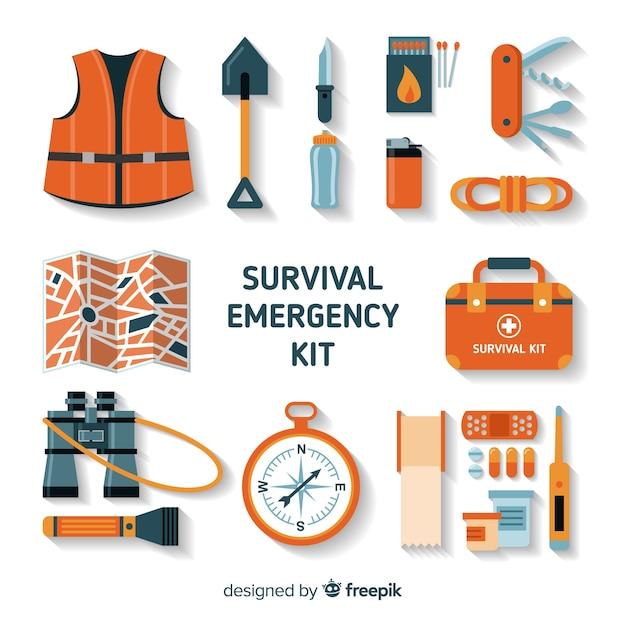Kit di sopravvivenza di emergenza creativo in stile piano Vettore gratuito