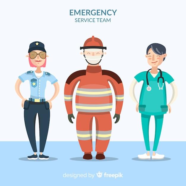 Creative emergency team in flat design Free Vector
