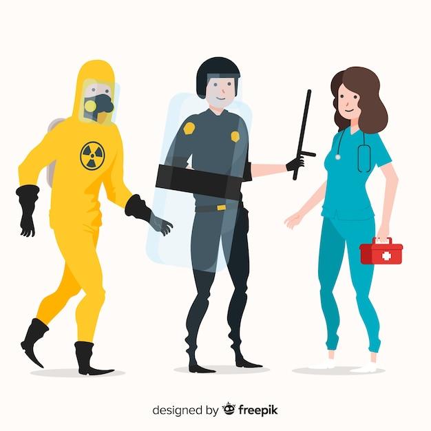 Creative emergency team in flat style Free Vector