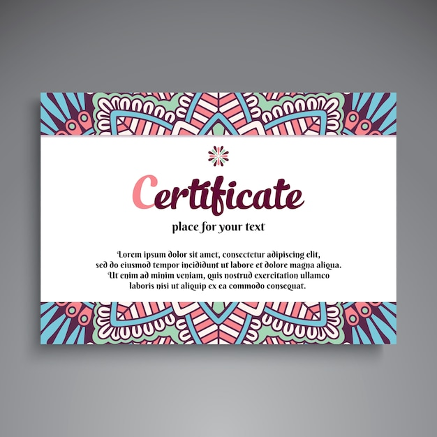 creative ethnic certificate template vector
