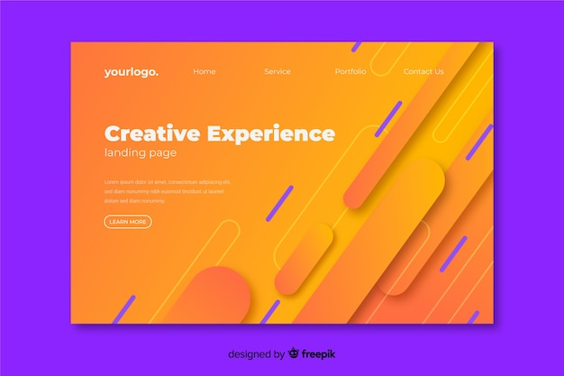 Creative experience landing page with geometric background Free Vector
