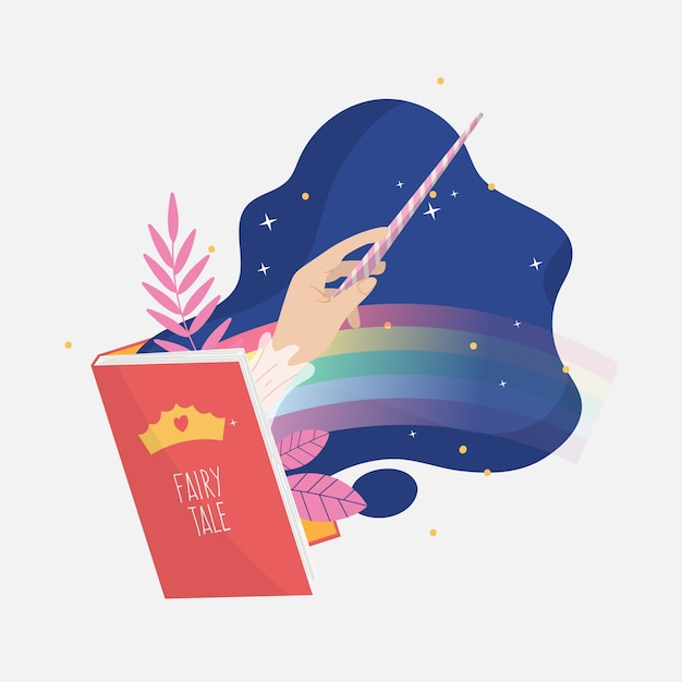 Creative fairy tale illustration of book Free Vector