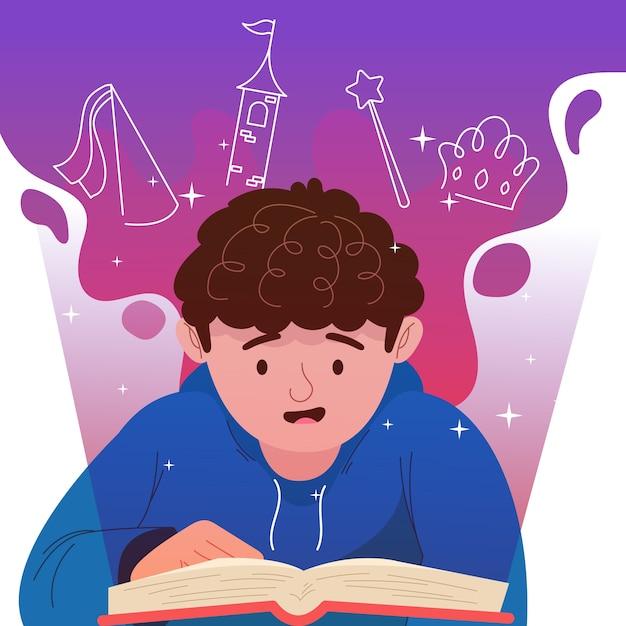 Творческая сказка иллюстрация мальчика чтения Бесплатные векторы