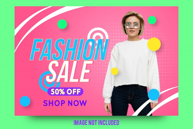 Creative fashion sale banner template Premium Vector