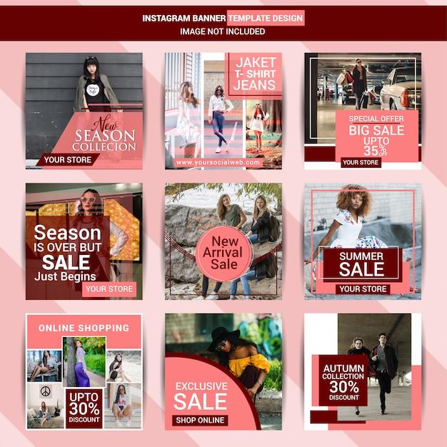 Creative fashion social media set Premium Vector