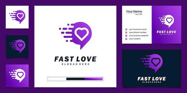 創造的な速い愛のロゴのインスピレーションと名刺のデザイン Premiumベクター