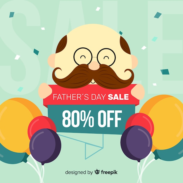 Creative fathers day sale background Free Vector