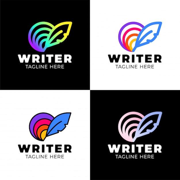 Feminine Logo Collections Template: Creative Feather Circle Rainbow Logo