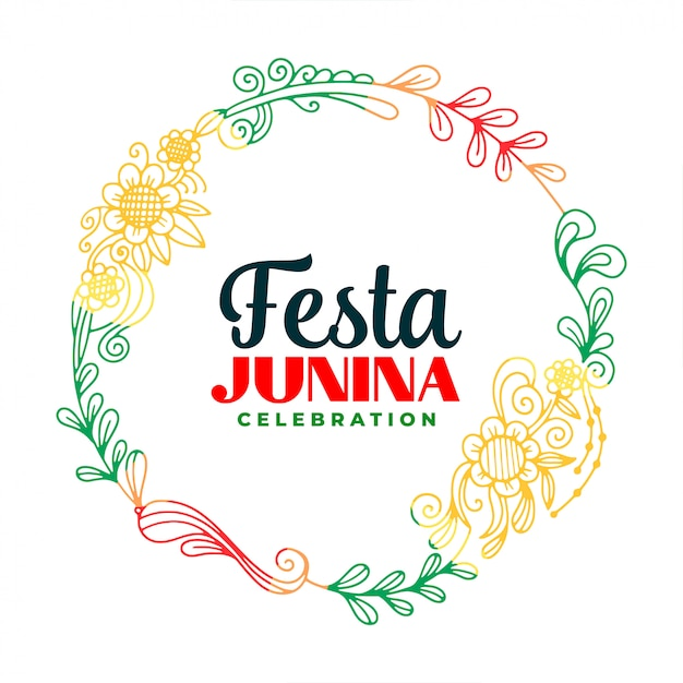Творческий феста junina листья и цветочная рамка фон Бесплатные векторы